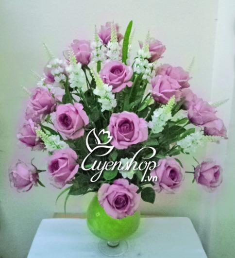 hoa giả - hoa hồng tím - uyenshop