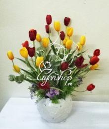 Hoa lụa, hoa giả Uyên shop, Bình Tulip nhiều mầu