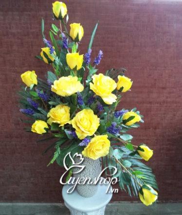 Hoa lụa, hoa giả Uyên shop, Bình hoa nghệ thuật