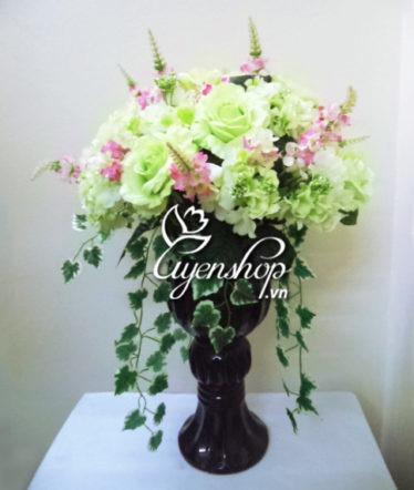 Hoa lụa, hoa giả Uyên shop, Ly hồng xanh