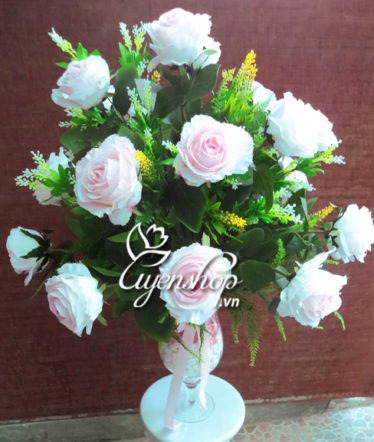 Hoa lụa, hoa giả Uyên shop, Ly hồng sang trọng