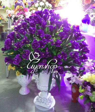 Hoa lụa, hoa giả Uyên shop, Bình hoa Diên Vĩ lớn