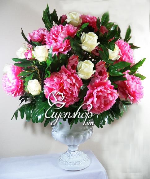 binh hoa mau don - hoa lua - uyenshop