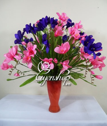 Hoa lụa, hoa giả Uyên shop, Đỗ quyên sương tím hồng