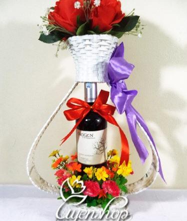 Hoa lụa, hoa giả Uyên shop, Giỏ quà Tình yêu