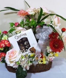 Hoa lụa, hoa giả Uyên shop, Giỏ hoa Sum họp