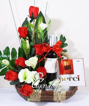 Hoa lụa, hoa giả Uyên shop, Giỏ quà May mắn