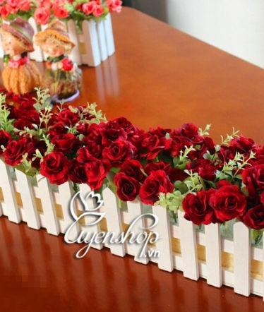 Hoa lụa, hoa giả Uyên shop, Hàng rào hoa đỏ