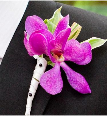 Hoa lụa, hoa giả Uyên shop, Hoa cài áo Lan tím