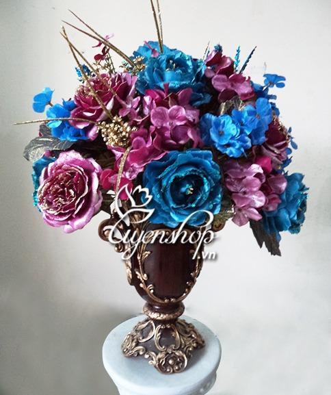 hoa hong chau au xanh tim - hoa lua - uyen shop