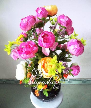 Hoa lụa, hoa giả Uyên shop, Lọ hoa Trà