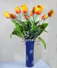 Hoa lụa, hoa giả Uyên shop, Tài lộc cùng Tulip cam