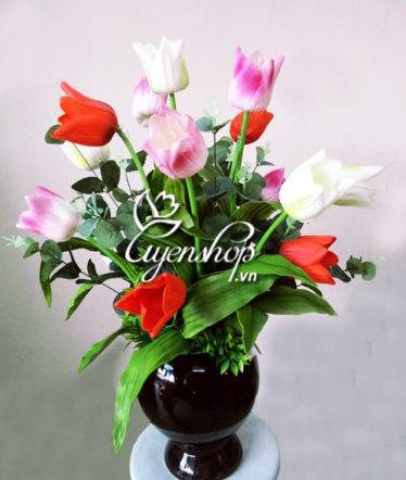 Hoa lụa, hoa giả Uyên shop, Hoa Tulip cao su
