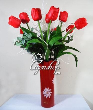 Hoa lụa, hoa giả Uyên shop, Hạnh phúc cùng Tulip đỏ