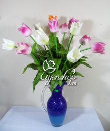 Hoa lụa, hoa giả Uyên shop, Bình Tulip dáng tay cầm
