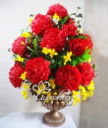 Hoa lụa, hoa giả Uyên shop, Bình hoa lớn mẫu đơn đỏ