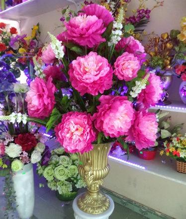 Hoa lụa, hoa giả Uyên shop, Bình lớn mẫu đơn hồng