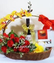Hoa lụa, hoa giả Uyên shop, Giỏ quà Cám ơn