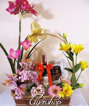 Hoa lụa, hoa giả Uyên shop, Giỏ quà Phúc Lộc