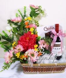 Hoa lụa, hoa giả Uyên shop, Giỏ quà Tài Lộc