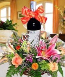 Hoa lụa, hoa giả Uyên shop, Giỏ quà Như Ý