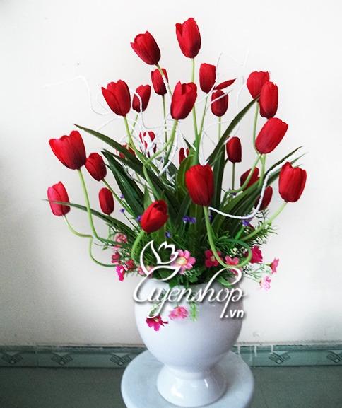 tulip do - hoa gia - uyenshop