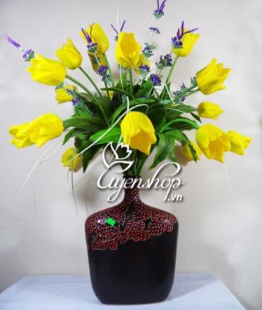 Hoa lụa, hoa giả Uyên shop, Bình Tulip dáng rủ tròn