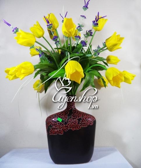 tulip vàng - hoa lụa - uyenshop