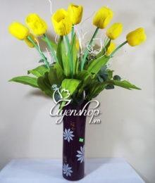 Hoa lụa, hoa giả Uyên shop, Bình an cùng Tulip vàng