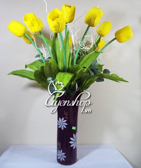 tulip vảng - hoa lụa - uyenshop