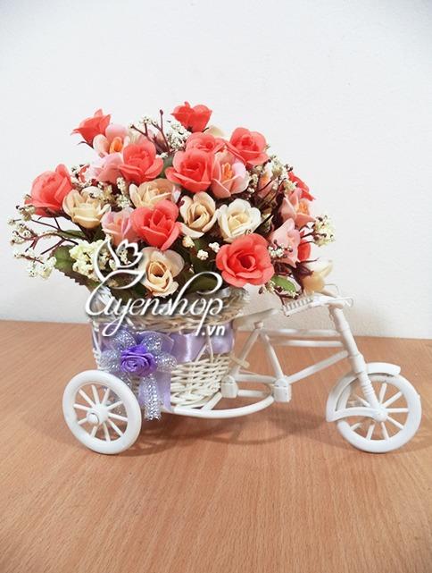 xe dap hoa - hoa lua - uyenshop