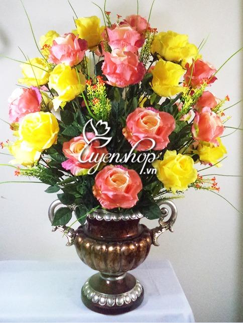 binh hoa hong lon - hoa lua - uyenshop