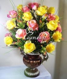 Hoa lụa, hoa giả Uyên shop, Bình hồng lớn đẹp