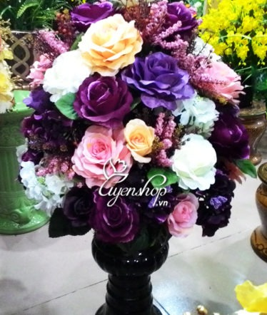 Hoa lụa, hoa giả Uyên shop, Bình hồng nhiều mầu