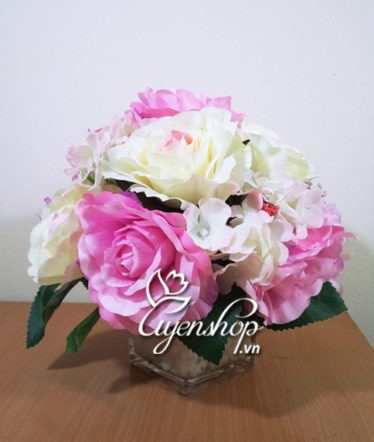 Hoa lụa, hoa giả Uyên shop, Sắc hồng tươi trẻ