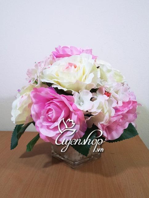 hoa hong de ban - hoa lua - uyenshop
