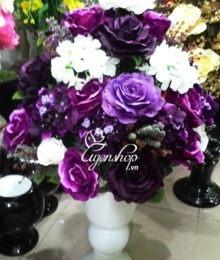 Hoa lụa, hoa giả Uyên shop, Hoa hồng trắng tím