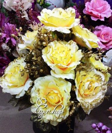 Hoa lụa, hoa giả Uyên shop, Hồng vàng Châu Âu