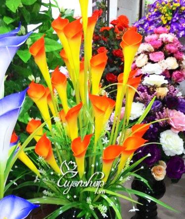 Hoa lụa, hoa giả Uyên shop, Hoa rum cam