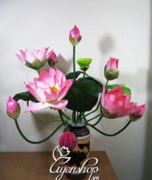 Hoa lụa, hoa giả Uyên shop, Bình hoa Sen