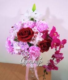 Hoa lụa, hoa giả Uyên shop, Ly hoa hồng