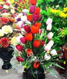 Hoa lụa, hoa giả Uyên shop, Tulip nhiều mầu