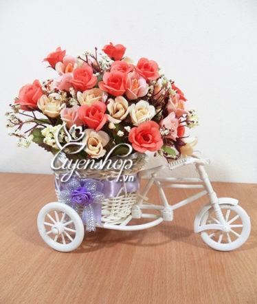 Hoa lụa, hoa giả Uyên shop, Xe đạp hoa có nơ