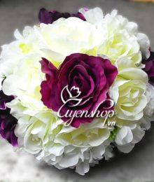 Hoa lụa, hoa giả Uyên shop, Hoa cưới trắng-tím
