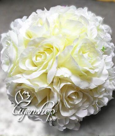 Hoa lụa, hoa giả Uyên shop, Mầu trắng sang trọng