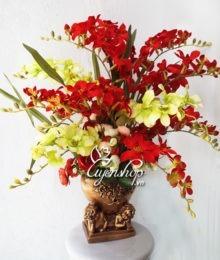Hoa lụa, hoa giả Uyên shop, Bình hoa 2 thiên thần