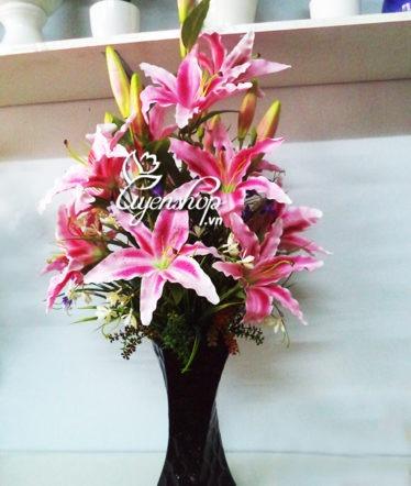 Hoa lụa, hoa giả Uyên shop, Bình hoa Ly