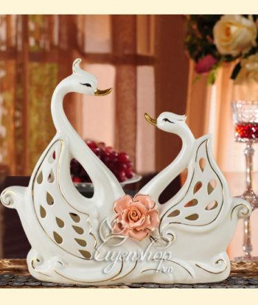 Hoa lụa, hoa giả Uyên shop, Đôi Thiên nga vẽ vàng