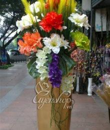 Hoa lụa, hoa giả Uyên shop, Bình hoa đại sảnh đẹp