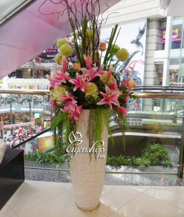 Hoa lụa, hoa giả Uyên shop, Bình hoa đại sảnh lớn
